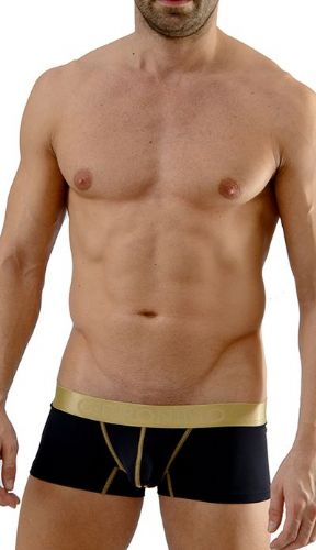 Men's Underwear Black Low Rise Boxer Gold Waistband Hipster 1663b2